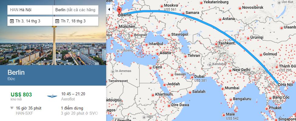 Bản đồ đường bay chặng Hà Nội - Berlin, Đức