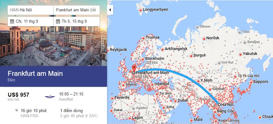 Bản đồ đường bay từ Hà Nội (Việt Nam) đi Frankfurt (Đức)