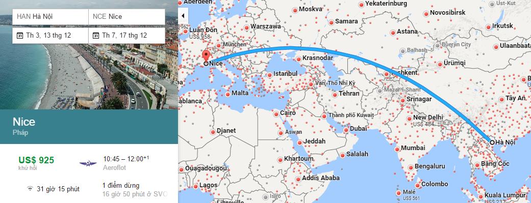 Bản đồ đường bay từ Hà Nội đi Nice
