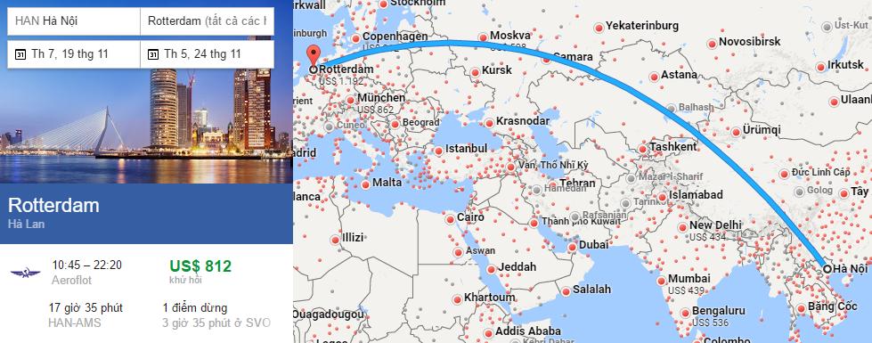 Bản đồ đường bay từ Hà Nội đi Rotterdam