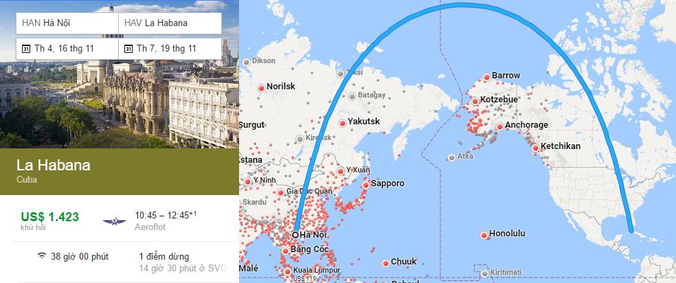 Bản đồ đường bay từ Hà Nội đi Havana