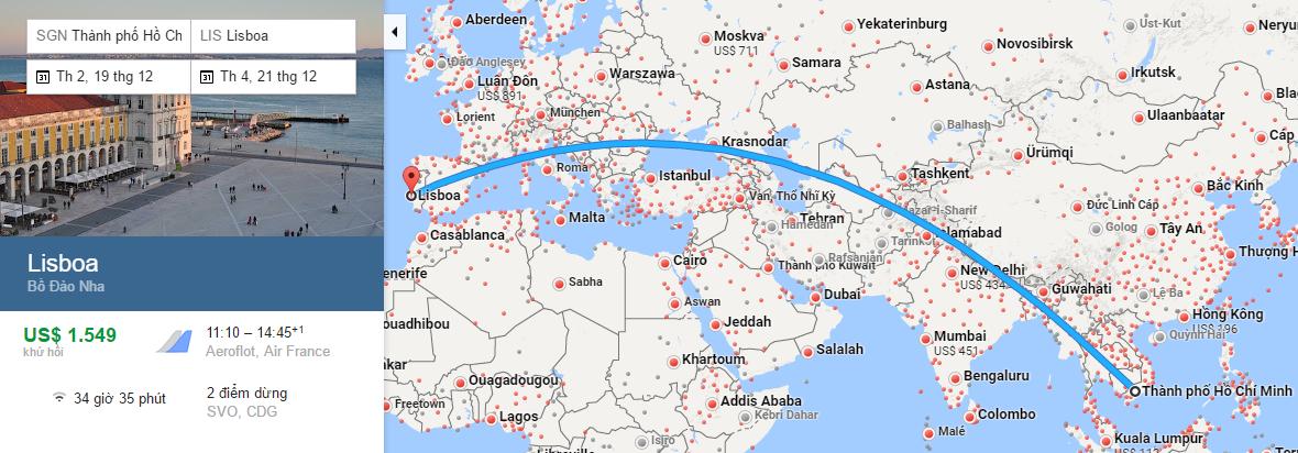 Bản đồ đường bay từ HCM đi Lisbon, Bồ Đào Nha