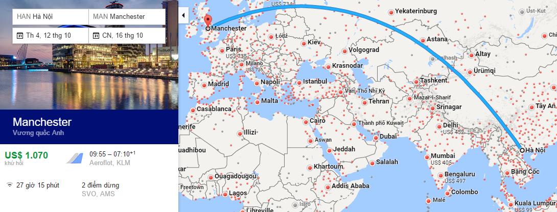 Bản đồ đường bay từ Hà Nội đi Manchester