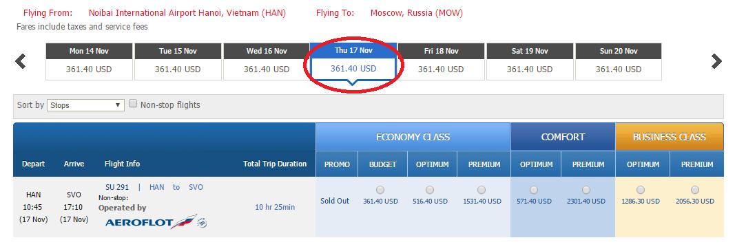 Giá vé tham khảo chặng Hà Nội đi Moscow