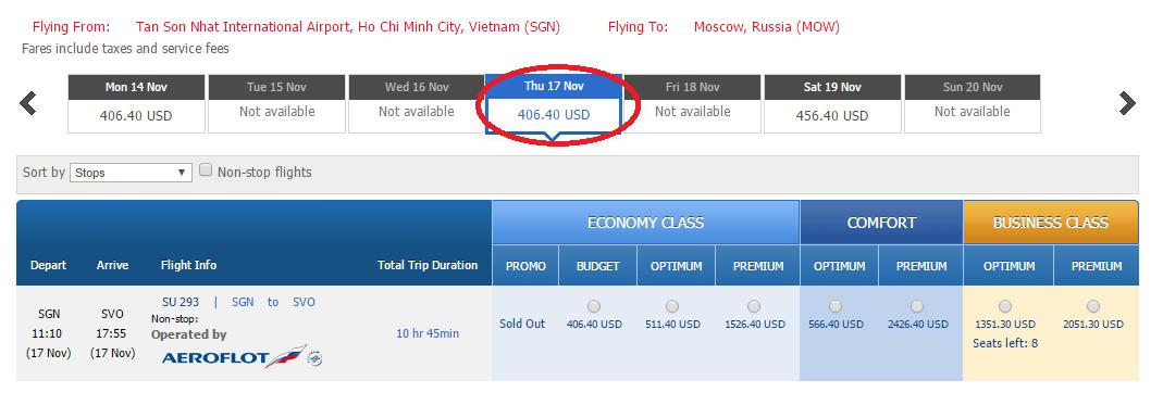 Giá vé tham khảo chặng HCM đi Moscow