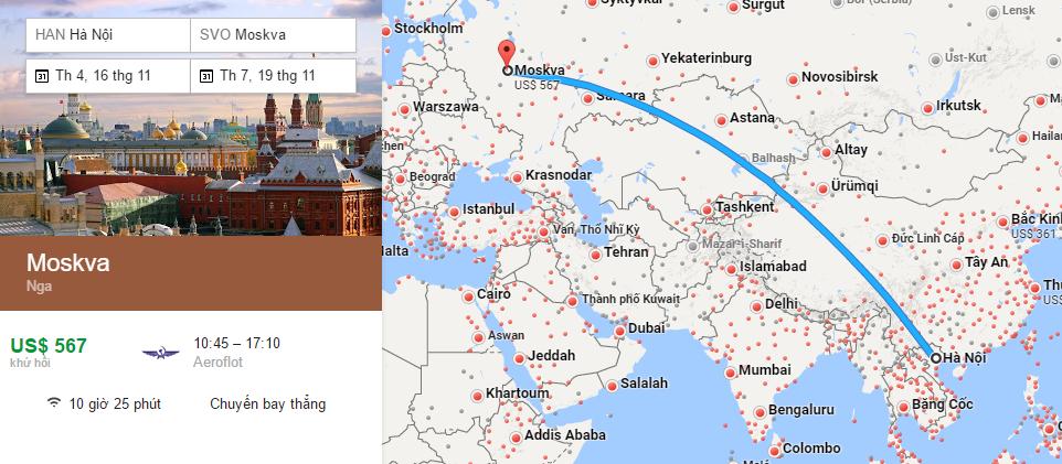 Bản đồ đường bay Hà Nội đi Moscow