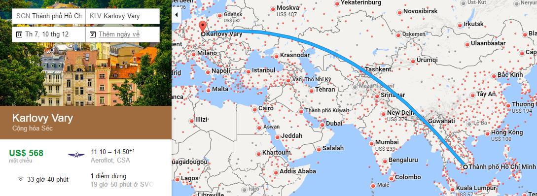 Bản đồ đường bay từ Hồ Chí Minh đi Karlovy Vary