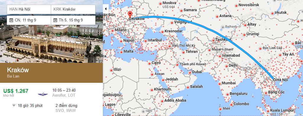 Bản đồ đường bay từ Hà Nội đi Krakow