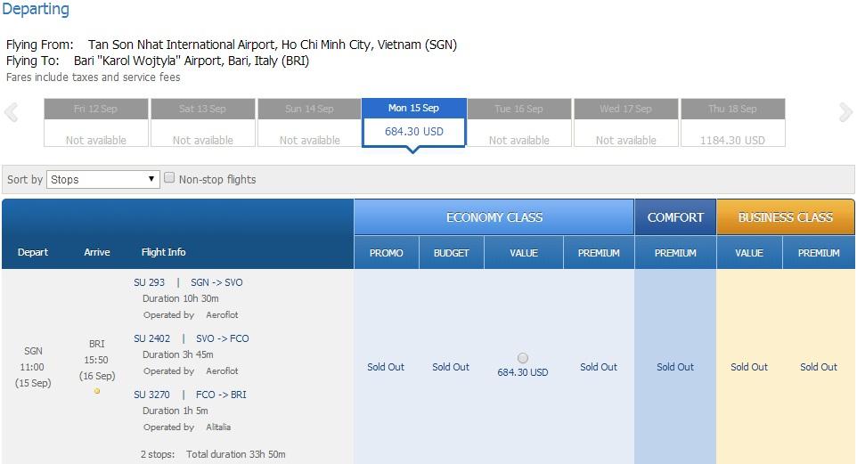 Vé máy bay đi Bari giá rẻ