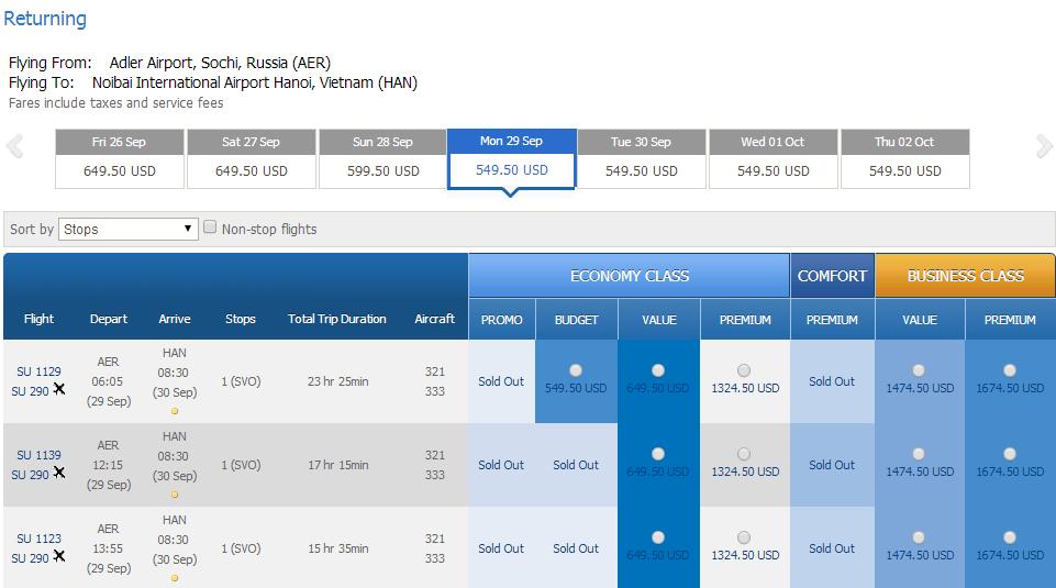 Vé máy bay đi Sochi giá rẻ