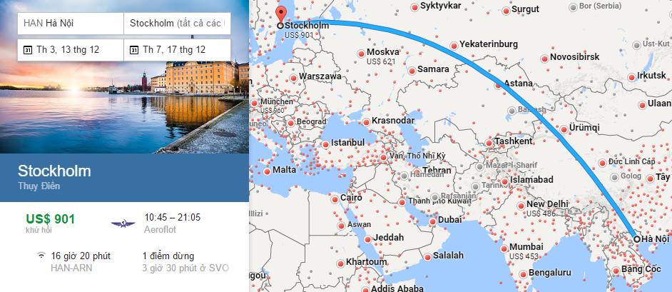 Bản đồ đường bay từ Hà Nội đi Stockholm