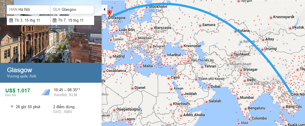Bản đồ đường bay từ Hà Nội đi Glasgow