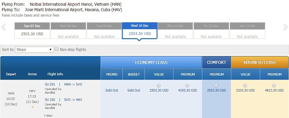 Vé máy bay đi Cuba bao nhiêu tiền?