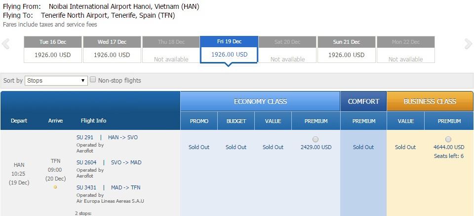 Vé máy bay đi Tenerife Tây Ban Nha giá rẻ