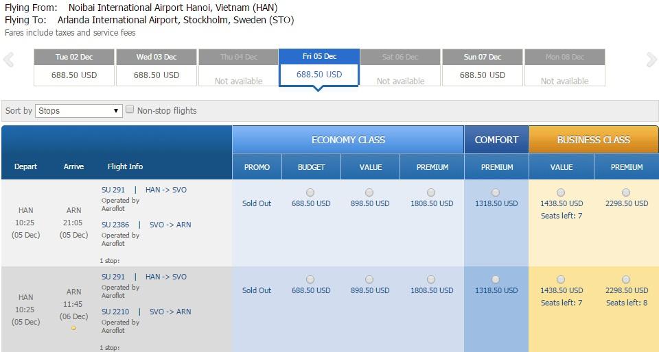 Vé máy bay đi Thụy Điển bao nhiêu tiền?