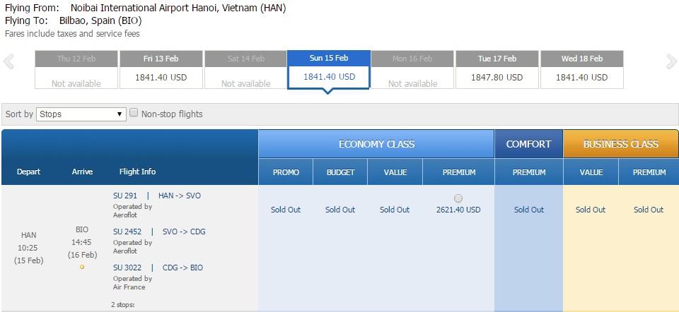 Vé máy bay đi Bilbao của Aeroflot giá rẻ nhất