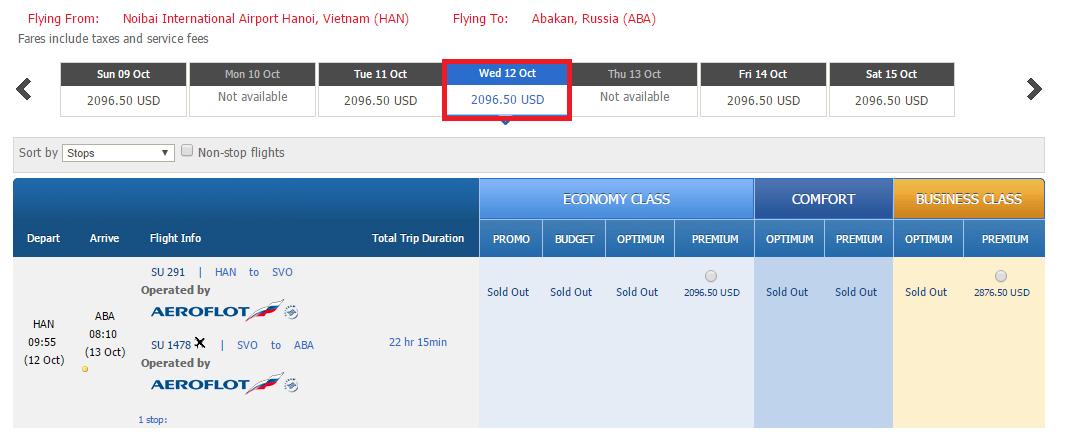 Giá vé tham khảo chặng Hà Nội đi Abakan