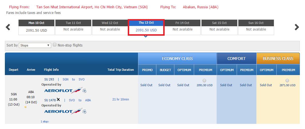Giá vé tham khảo chặng HCM đi Abakan