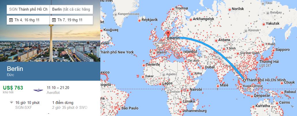Bản đồ đường bay từ Hồ Chí Minh đi Berlin