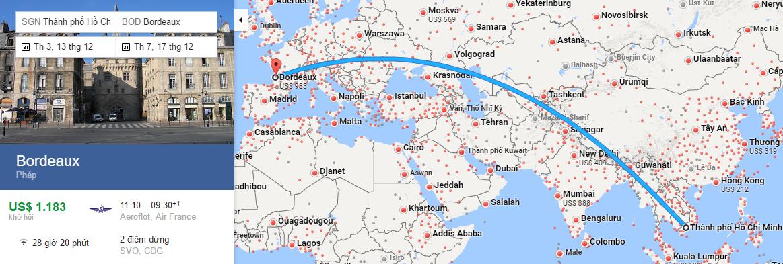 Bản đồ đường bay từ Hồ Chí Minh đi Bordeaux