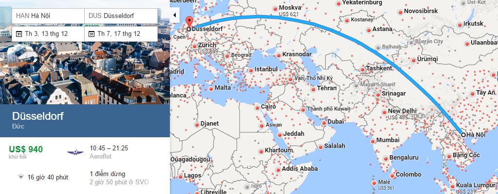 Bản đồ đường bay từ Hà Nội đi Dusseldorf