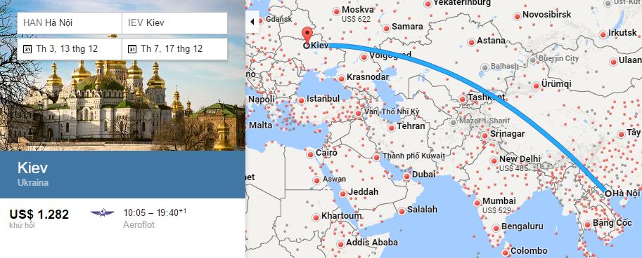 Bản đồ đường bay từ Hà Nội đi Kiev
