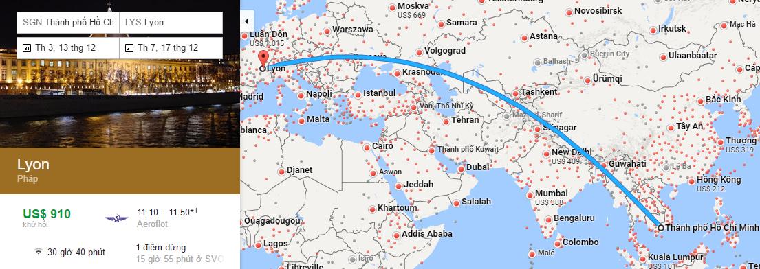 Bản đồ đường bay từ Hồ Chí Minh đi Lyon