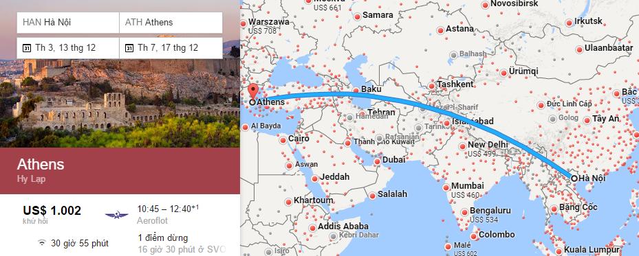 Bản đồ đường bay từ Hà Nội đi Athens