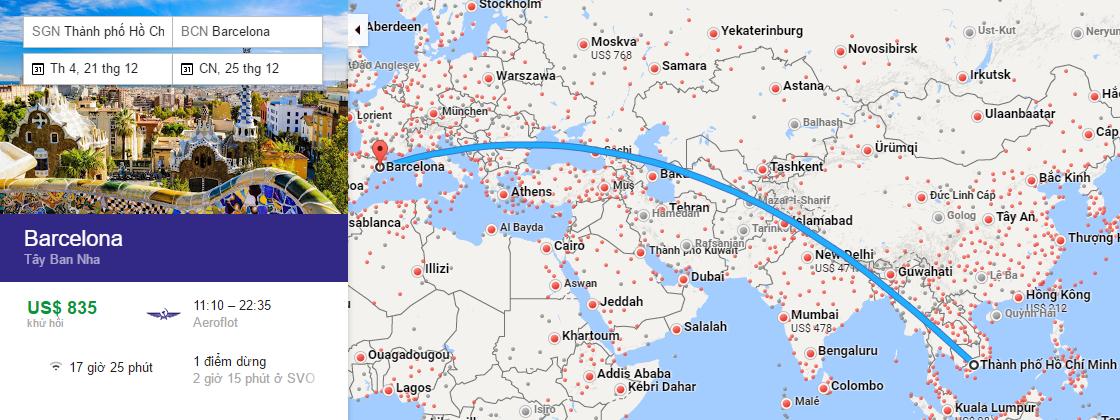 Bản đồ đường bay từ Hồ Chí Minh đi Barcelona