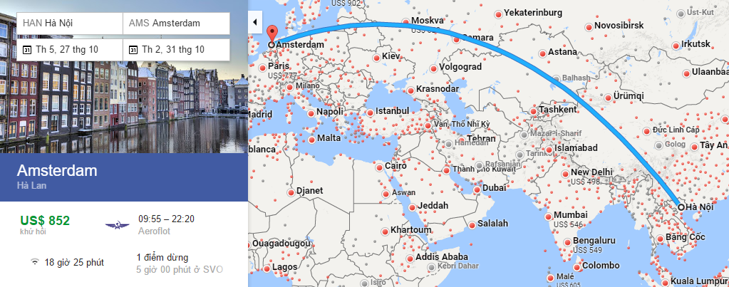 Bản đồ đường bay từ Hà Nội đi Amsterdam