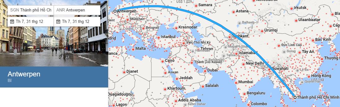 Bản đồ đường bay từ Hồ Chí Minh đi Antwerp