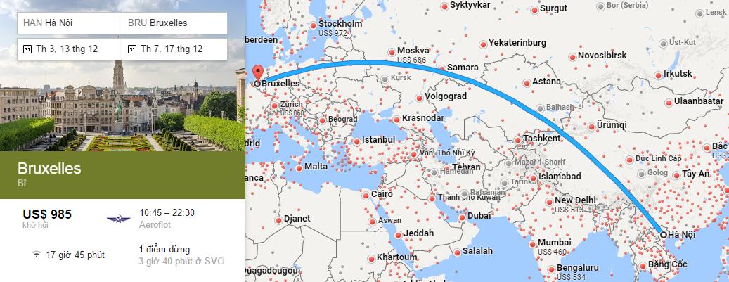 Bản đồ đường bay từ Hà Nội đi Brussels