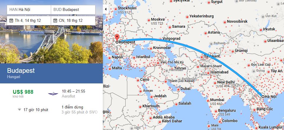 Bản đồ đường bay từ Hà Nội đi Budapesh