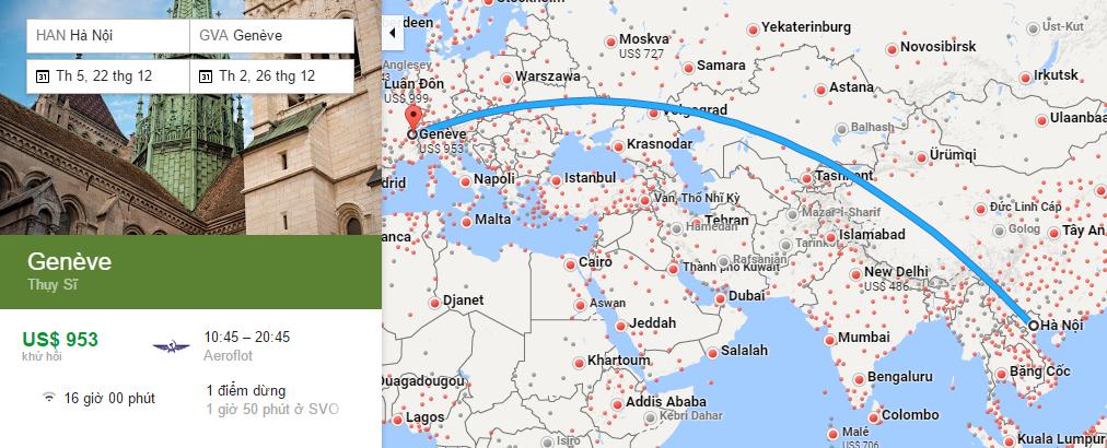 Bản đồ đường bay từ Hà Nội đi Geneva