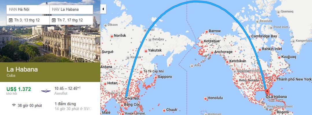 Bản đồ đường bay từ Hà Nội đi La Habana