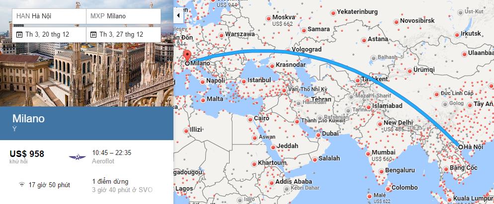 Bản đồ đường bay từ Hà Nội đi Milan