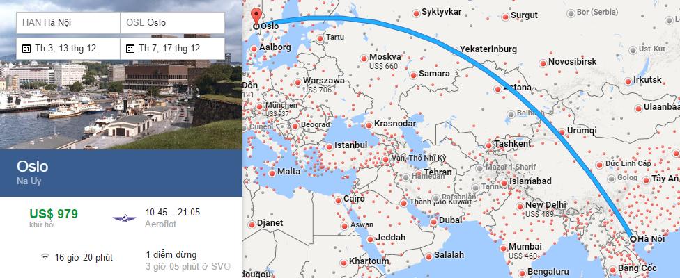 Bản đồ đường bay từ Hà Nội đi Oslo