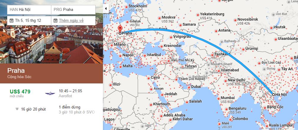 Bản đồ đường bay từ Hà Nội đi Prague (Praha)