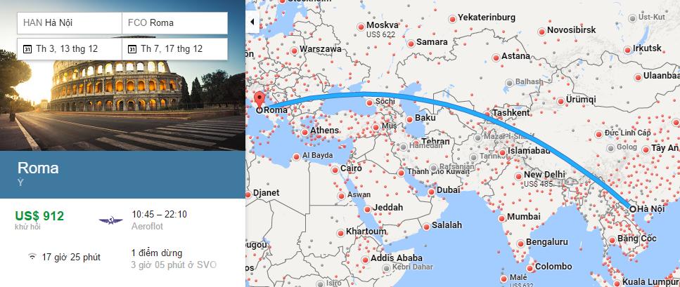 Bản đồ đường bay từ Hà Nội đi Roma