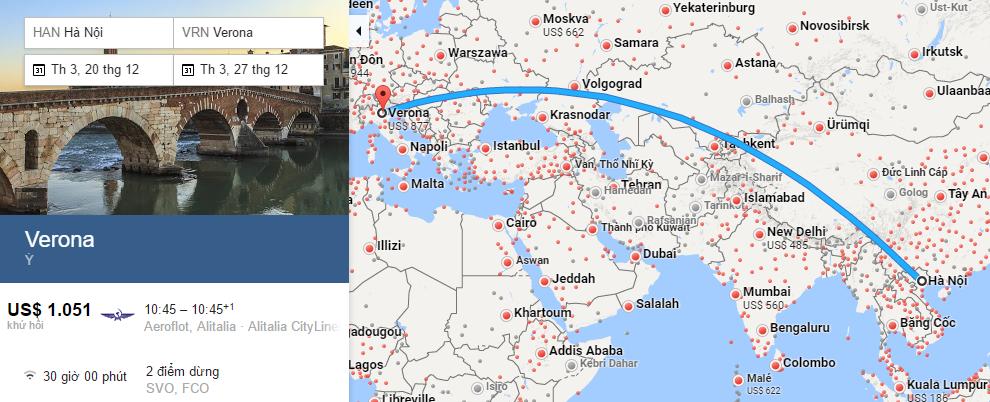 Bản đồ đường bay từ Hà Nội đi Verona