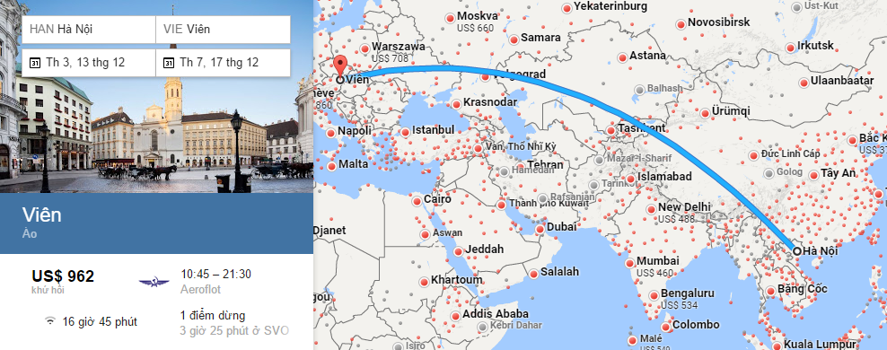 Bản đồ đường bay từ Hà Nội đi Vienna