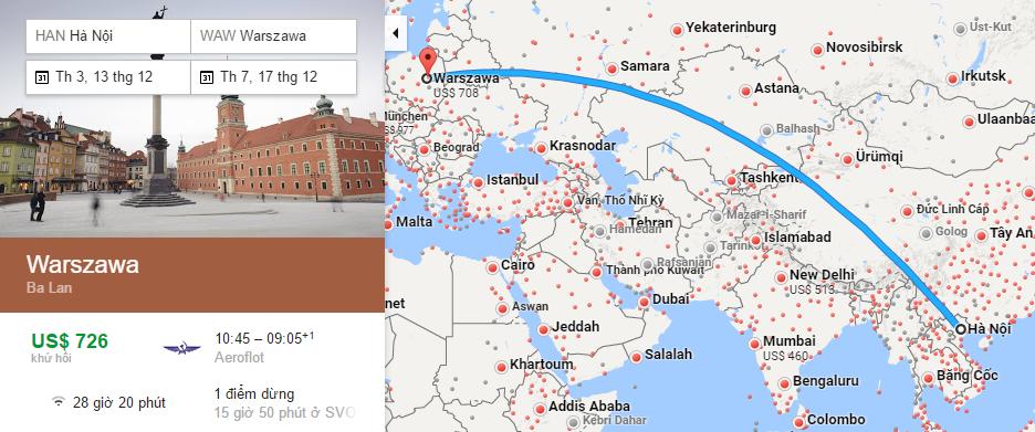 Bản đồ đường bay từ Hà Nội đi Warsaw