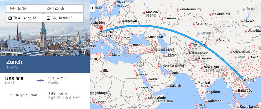 Bản đồ đường bay từ Hà Nội đi Zurich