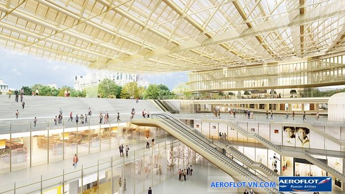 """Mái vòm kính trong suốt ở Les Halles được ví như """"chiếc ô của bầu trời"""""""