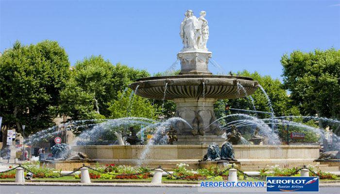 Thành phố Aix en Provence có nhiều đài phun nước cho bạn dạo chơi